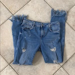 Zara skinny jeans fringe detail